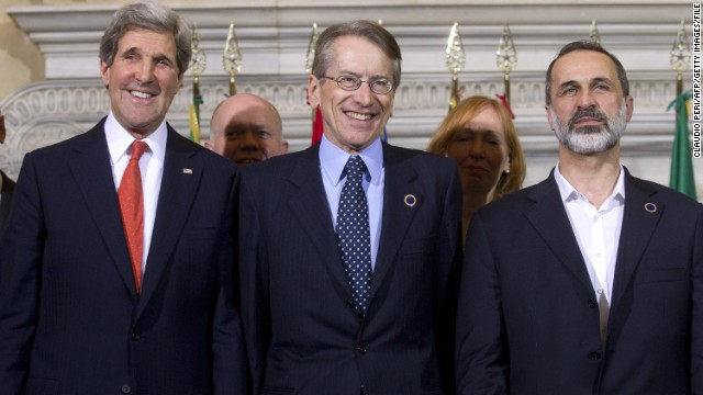 Italy's foreign minister Giulio Terzi (center), pictured in February, resigned on Tuesday.