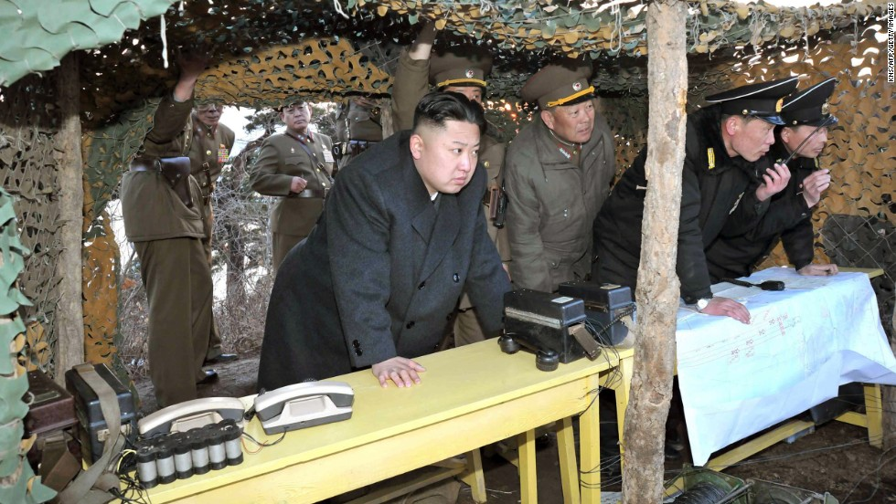 In this KCNA photo, Kim inspects naval drills at an undisclosed location on North Korea's east coast in March 2013.