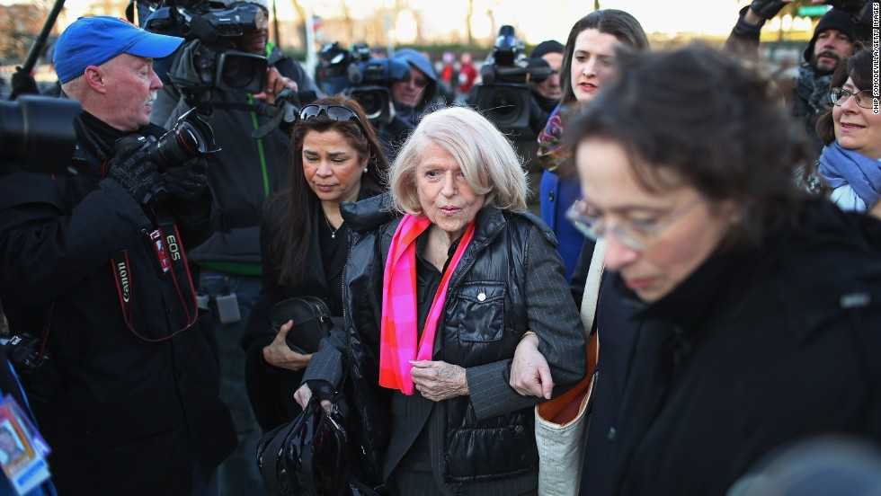 Windsor, 83, arrives at the Supreme Court on Wednesday, March 27, in Washington. The Supreme Court heard arguments in the case of Edith Schlain Windsor, in Her Capacity as Executor of the Estate of Thea Clara Spyer, Petitioner v. United States, the second case about same-sex marriage this week.