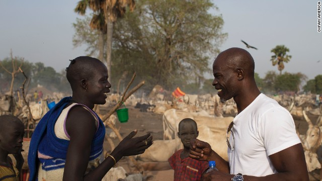 Djimon Hounsou, right, in South Sudan on his recent trip.