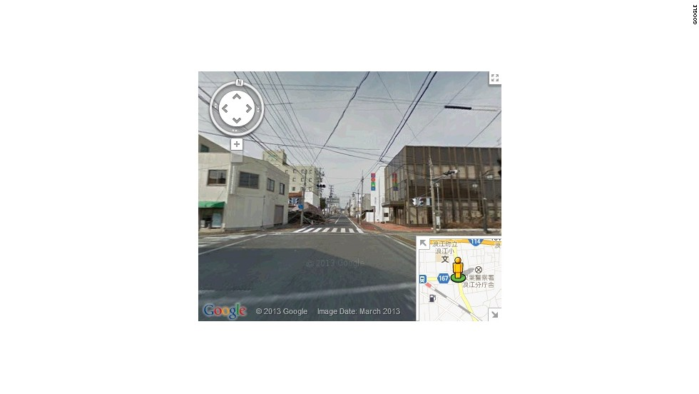 A screen grab from Google Street View of one of Namie-machi's now-deserted main streets.