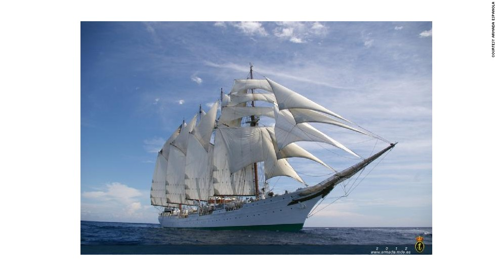 The Juan Sebastian de Elcano measures 370 feet. Only two other tall ships in the world are larger. Its four masts stretch nearly 160 feet into the sky -- about as tall as a 16-story building.