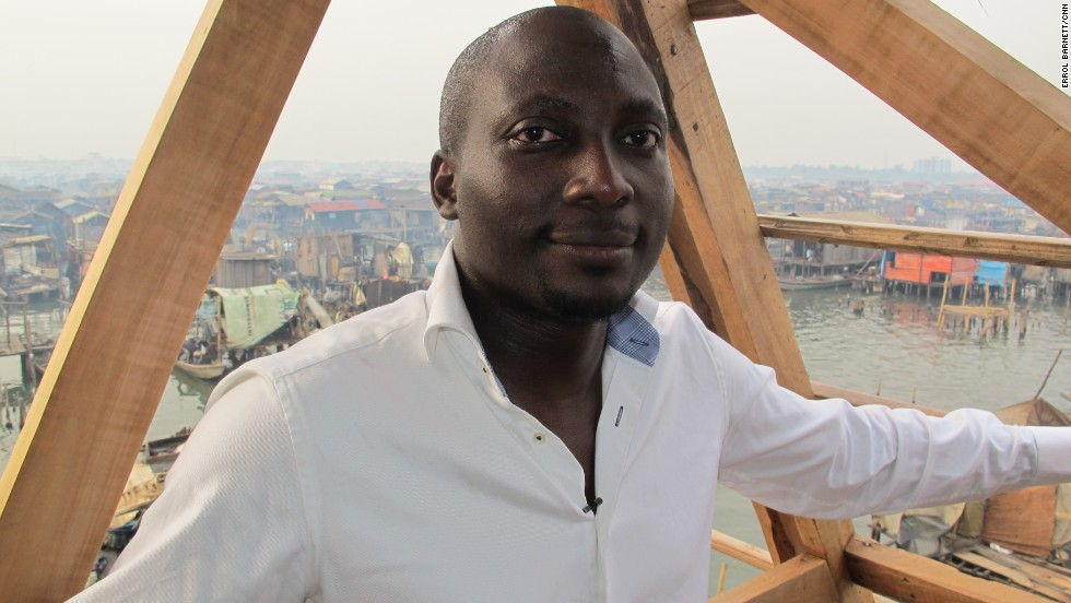 "Kunle Adeyemi is a Nigerian architect bringing international experience back home. His idea was to ""build something that is easy for locals to fabricate and the design was inspired by Makoko itself."" With help from the United Nations Development Programme he's constructed a floating school for Makoko's children, to be opened soon."