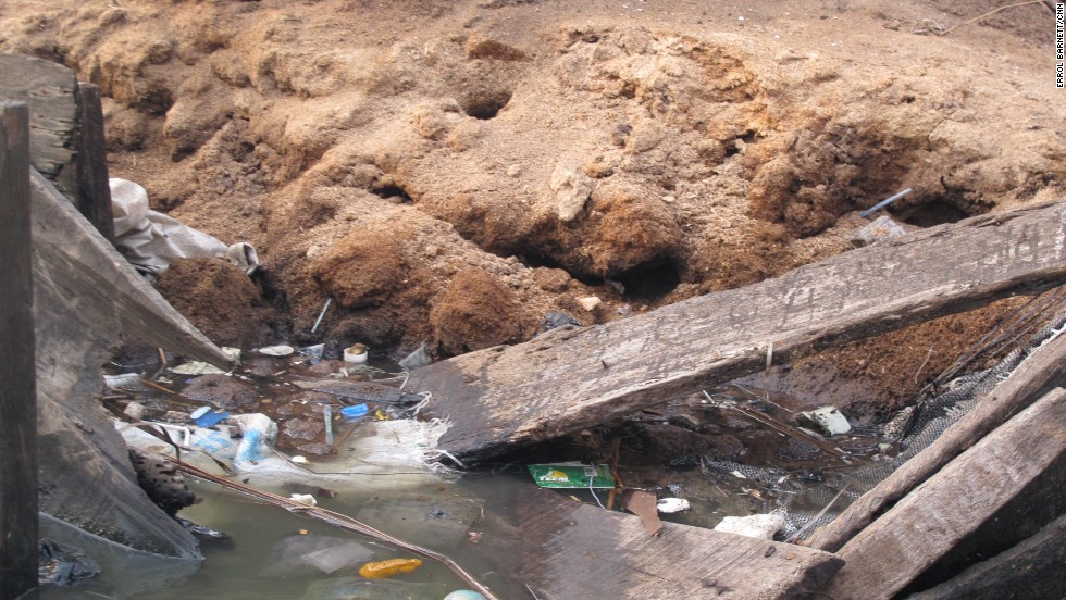 Because the government views Makoko as an illegal settlement, no sewage or clean water infrastructure exists. As a result, trash can be seen everywhere in the murky green water of the lagoon. Sawdust is also used as a way of reclaiming land in areas where garbage is piling up.