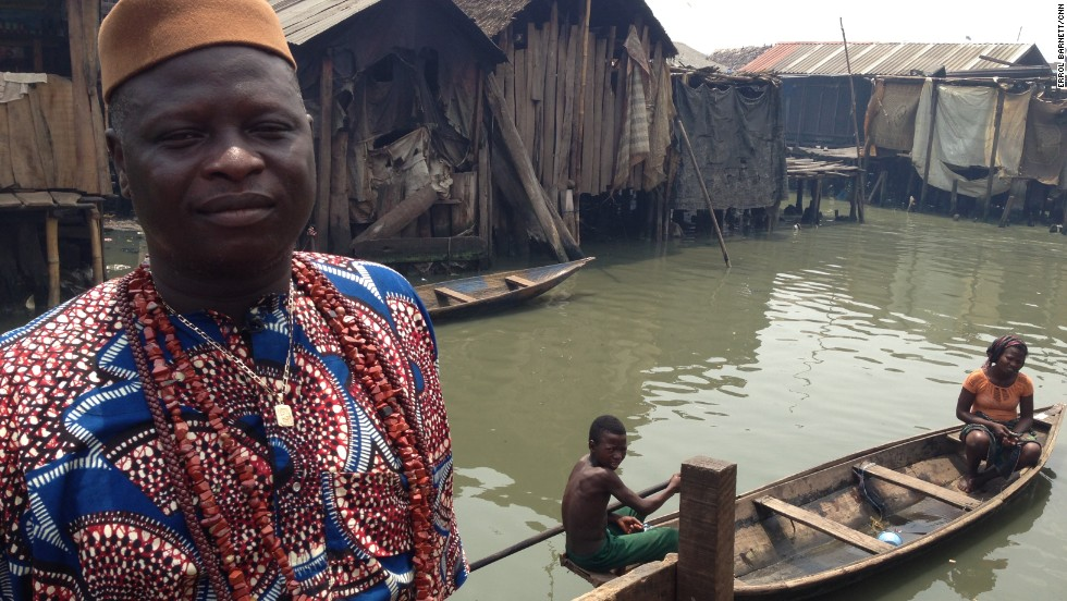 """Baale Ekaso is one of the many chiefs in the sprawling water city. While his parents immigrated to the area, Ekaso, like many others, has never lived anywhere else. """"If we leave this community for the city, what is there for us?"""" he says. """"We are humans, we have rights and we implore the government to respect that,"""" he adds."""
