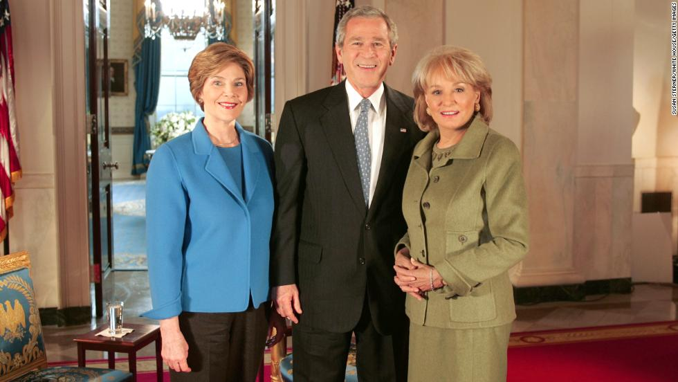 In 2005, Walters met with President George W. Bush and first lady Laura Bush for their first joint interview after the November 2004 election.