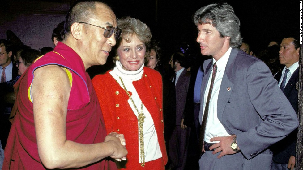 Her reporting has made Walters an international star. She and actor Richard Gere greeted the Dalai Lama when he visited St. John the Divine in New York in 1992.