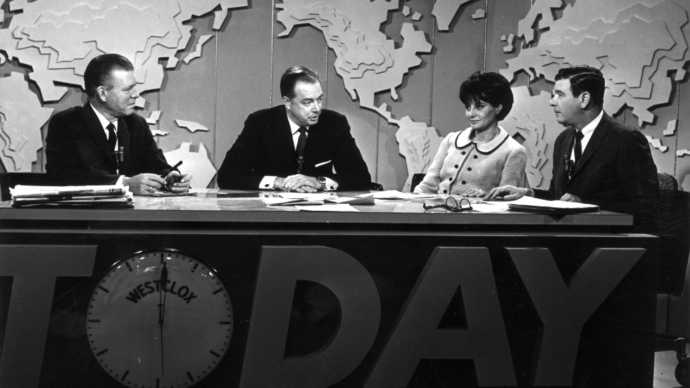 "Jack Lescoulie, Hugh Downs, Walters and Frank Blair conduct a discussion on NBC's ""Today Show"" in New York.  She worked for the show from 1961 to 1976."