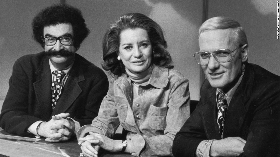 "From left, Gene Shalit, Walters and Frank McGee sit behind the news desk in a promotional portrait for the ""Today Show"" in 1973."