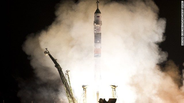 The Soyuz TMA-08M spacecraft blastws off from Kazakhstan's Baikonur cosmodrome.