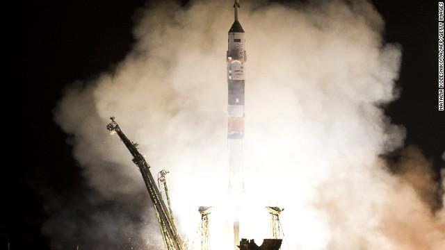 The Soyuz TMA-08M spacecraft blastws off from Kazakhstan's Baikonur cosmodrome.
