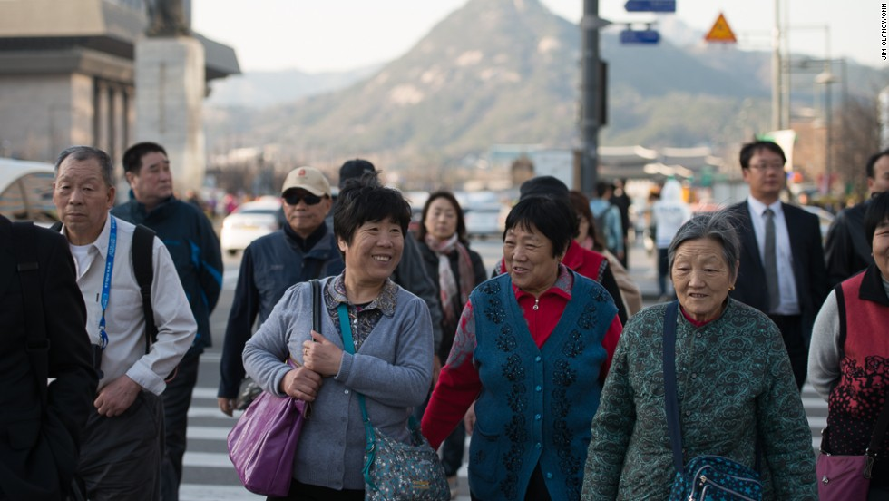 Seoul's residents in the downtown business district of Gwang Hwa Moon are focused on daily life, not the threat from the north.