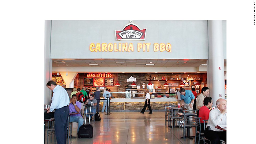 This restaurant taunts travelers with meaty aromas that drift all over Charlotte Douglas International Airport. The restaurant says it can smoke 100,000 pounds of meat per night and pulled pork is the most popular order.