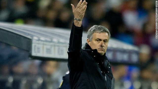 Coach Jose Mourinho gestures during Real Madrid's 1-1 draw at Zaragoza on Saturday.