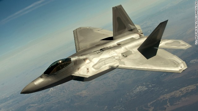 A F-22 Raptor fighter jet flies in a training mission in March.