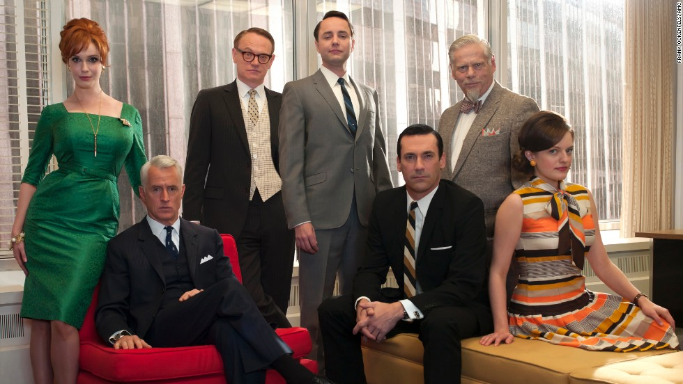 From left, Joan, Roger, Lane, Pete, Don, Bertram Cooper (Robert Morse) and Peggy at the office.