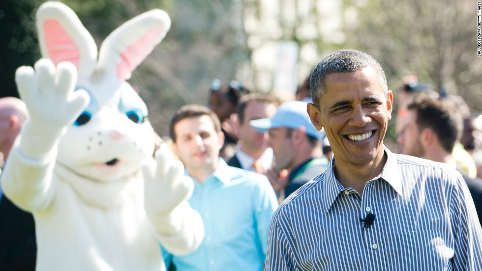 The Easter Bunny waves from behind U.S. President Barack Obama at the White House Easter Egg Roll on the South Lawn of the White House on Monday, April 1. The annual event features live music, sports courts, cooking stations, storytelling and, of course, Easter egg rolling.
