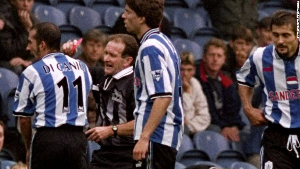 His first English club was Sheffield Wednesday, where he received an 11-match ban after pushing referee Paul Alcock to the ground when he was sent off during a Premiership match against Arsenal on September 26, 1998.