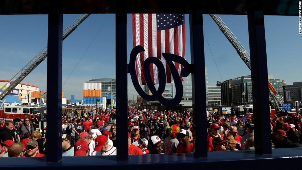 Fans enter Nationals Park for the Nationals-Marlins game.