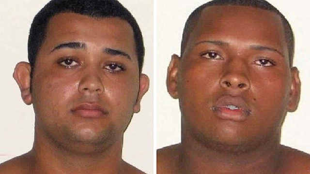 "Composition made with two handout mugshots released by the Civil Police, showing Jonathan Froudakis de Souza (L), 20, and Wallace Aparecido Silva, 22, who allegedly raped a foreign tourist in a minibus in Rio de Janeiro on March 30, 2013. The Police is looking for a third suspect accused of sexually abusing the tourist while she was riding along with her partner in a minibus in Rio de Janeiro's famous area of Copacabana. AFP PHOTO/POLICIA CIVIL/HO --- RESTRICTED TO EDITORIAL USE - MANDATORY CREDIT ""AFP PHOTO/POLICIA CIVIL/HO"" - NO MARKETING NO ADVERTISING CAMPAIGNS - DISTRIBUTED AS A SERVICE TO CLIENTS--/AFP/Getty Images"