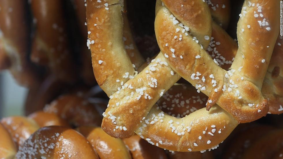 Pretzels are sold at a stand before the game between the White Sox and the Royals.