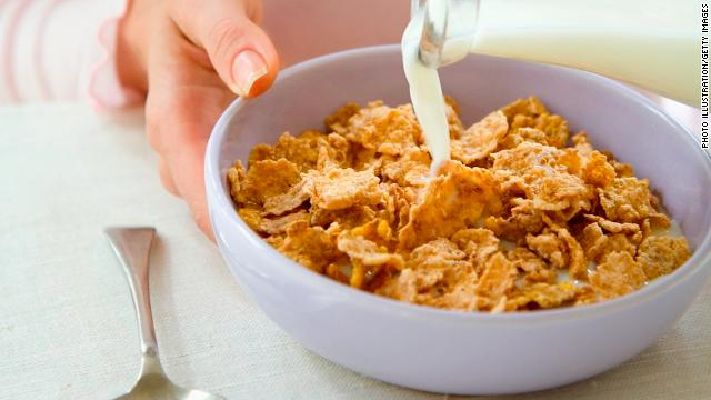 If you can't stand milk, plop on a cup of Greek yogurt or low-fat cottage cheese on your cereal.