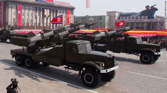 SA-3 ground-to-air missiles are displayed during a military parade in honour of the 100th birthday of the late North Korean leader Kim Il-Sung in Pyongyang on April 15, 2012.