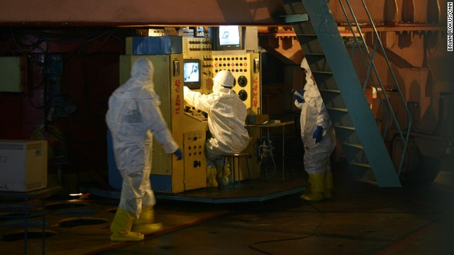 Workers remove fuel rods from the Yongbyon nuclear reactor in North Korea in February 2008. This image was one of a series taken during a trip to North Korea from February 23 to February 27, 2008 under the auspices of the New York Philharmonic's performance there.