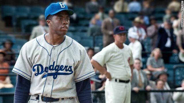"Chadwick Boseman stars as Jackie Robinson in ""42."""