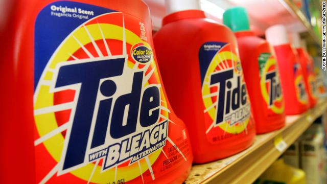 Tide laundry detergent, made by Procter & Gamble Co., is seen on display at the Arguello Supermarket January 28, 2005 in San Francisco. Procter & Gamble Co. announced that it is buying shaver and battery maker Gillette Co. for $57 billion in a deal that would create the world?s largest consumer-products company.