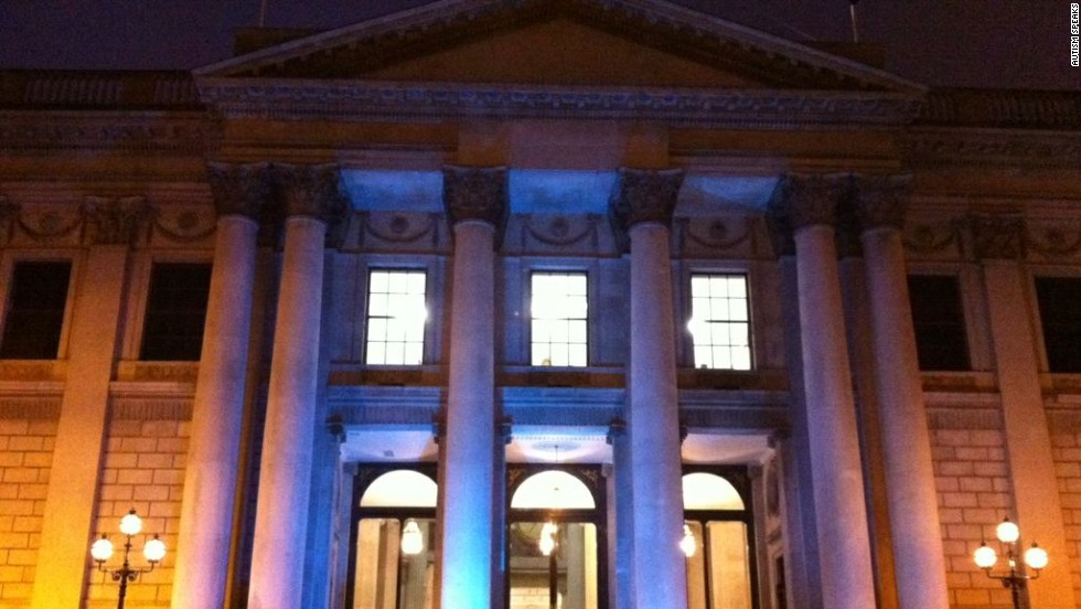 The city hall in Dublin, Ireland, lights up for the 2012 World Autism Awareness Day.
