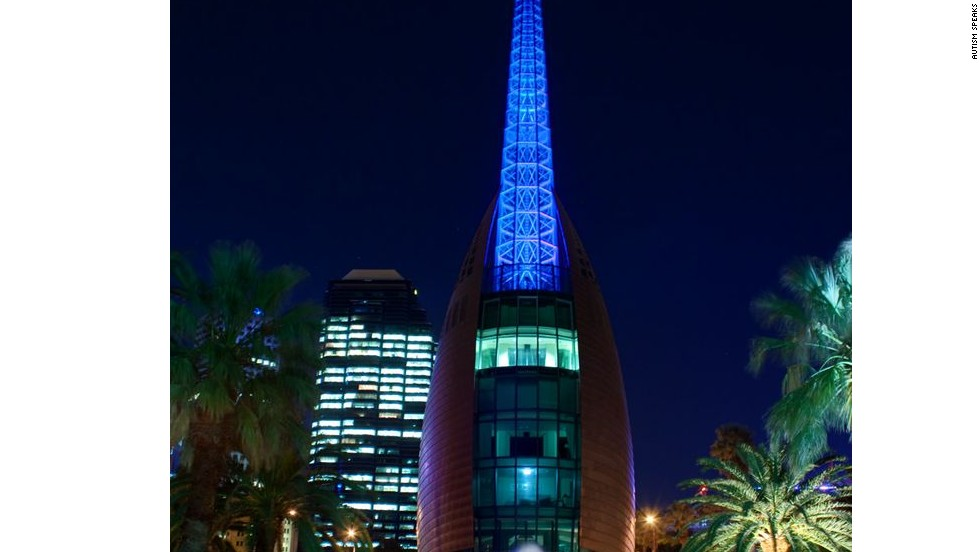 The Swan Bell Tower in Perth, Australia, lights up blue for the 2012 World Autism Awareness Day.