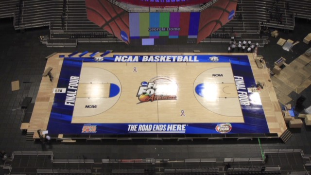 Watch Final Four floor be assembled