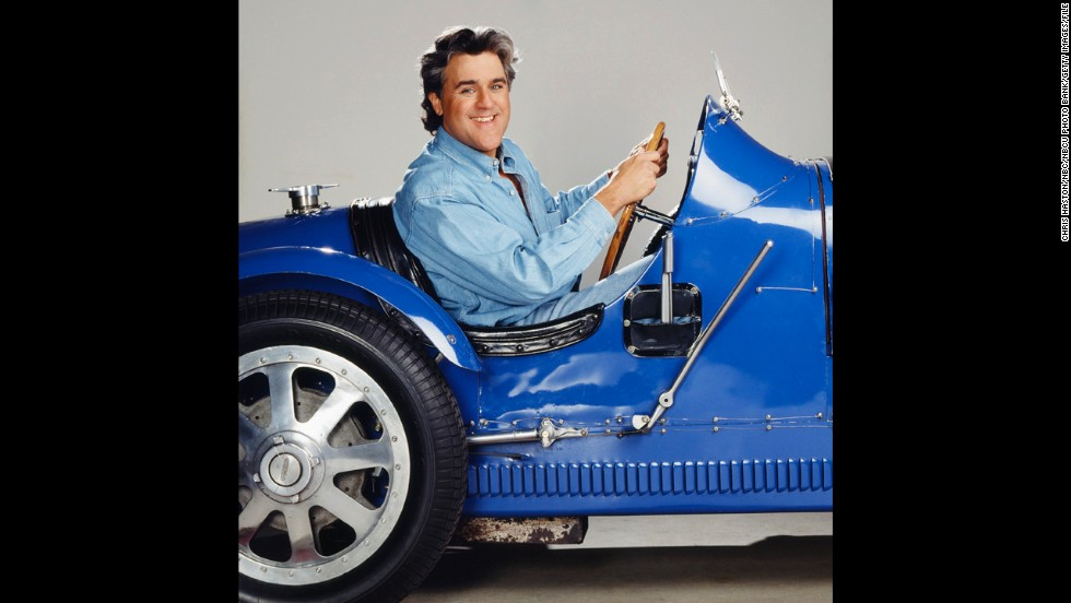"Leno, known for his love of cars, promotes his fifth season as ""Tonight Show"" host with this flashy set of wheels. He landed the talk-show gig when Johnny Carson retired in 1992."