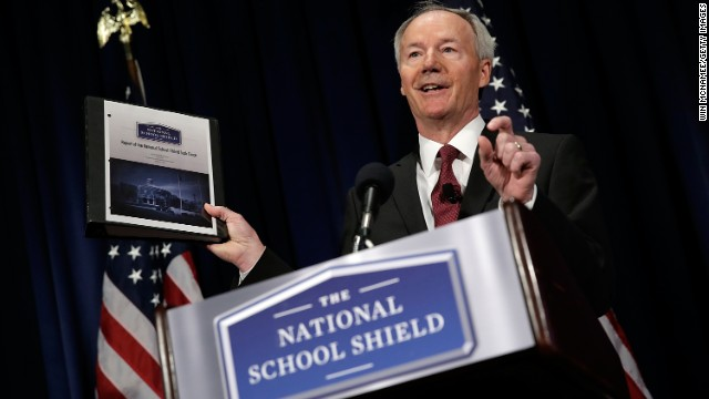 Former U.S. Rep. Asa Hutchinson announces the recommendations of the NRA backed National School Shield Program regarding school security during a press conference April 2, 2013 at the National Press Club in Washington, DC.