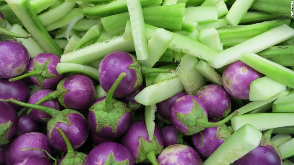 Purple Thai eggplant and Thai cucumbers at the curry stand, Sarabha, in Old Bagan