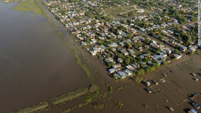 An aerial view shows a flooded area on the outskirts of La Plata on April 3. Thousands of residents have evacuated due to the rain, officials said.