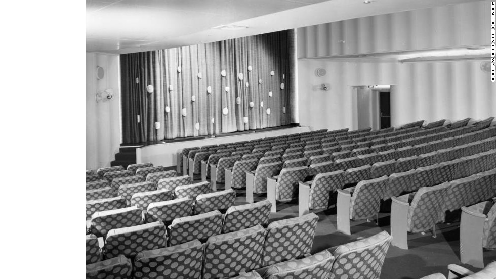 In 1955, long before ship-board movie theaters were commonplace, the SS United States showed films in the popular CinemaScope widescreen format.