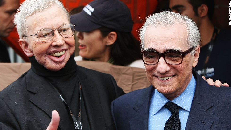 Ebert and director Martin Scorsese attend the 62nd International Cannes Film Festival in 2009. Ebert had cancer and lost part of his lower jaw in 2006.