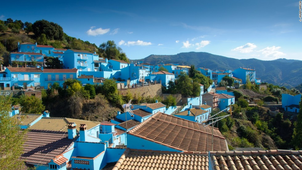 The residents of Juzcar, Spain, agreed to paint their homes blue in 2011 to promote a Smurfs movie. Although Sony offered to repaint the town, the 220 residents voted to stay blue.