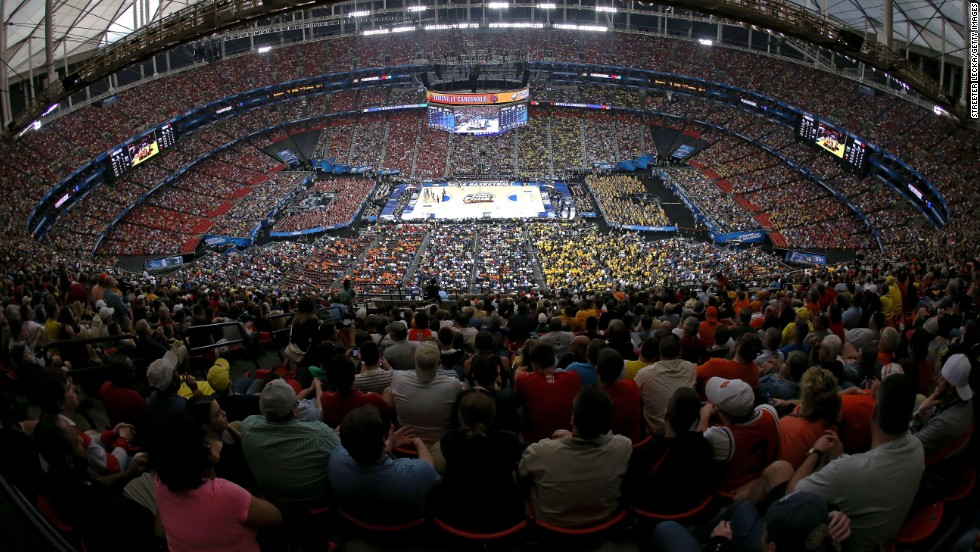 Tens of thousands fill the Georgia Dome in Saturday's first semifinal game, between Louisville and Wichita State.