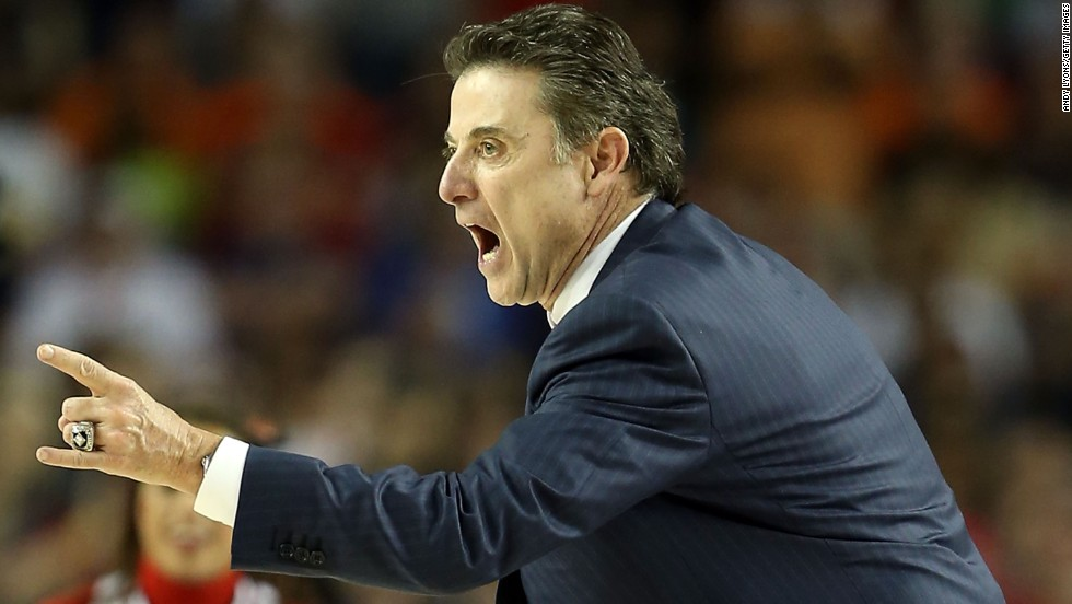 Head coach Rick Pitino of Louisville reacts to a play.
