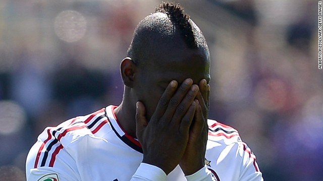 AC Milan striker Mario Balotelli was booked in Sunday's 2-2 draw with 10-man Fiorentina, incurring a suspension.