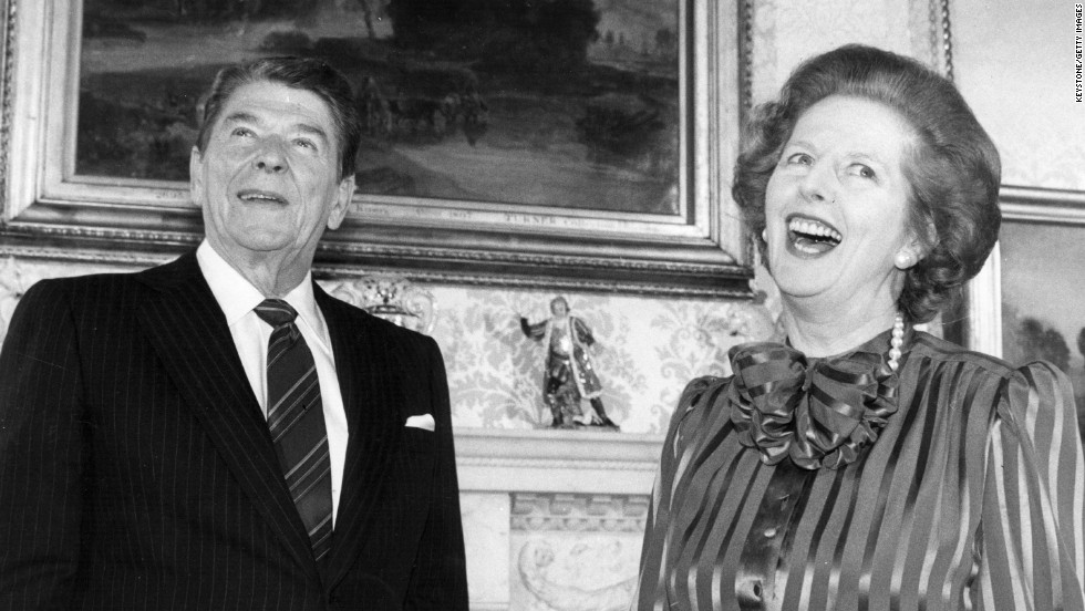 Thatcher and Reagan share a joke at her residence, No. 10 Downing St., in London in June 1984.