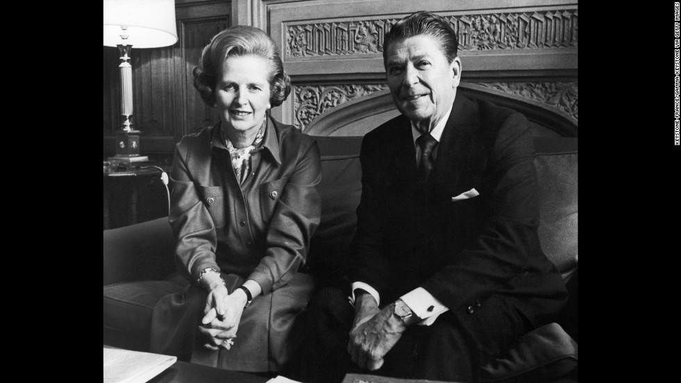 "Former world leaders Margaret Thatcher and Ronald Reagan met many times as partners in diplomacy and policy-making and developed a public friendship. ""We have lost a great president, a great American and a great man. And I have lost a dear friend,"" Thatcher said at Reagan's funeral in 2004. Here, the two at the House of Commons in London on November 28, 1978."