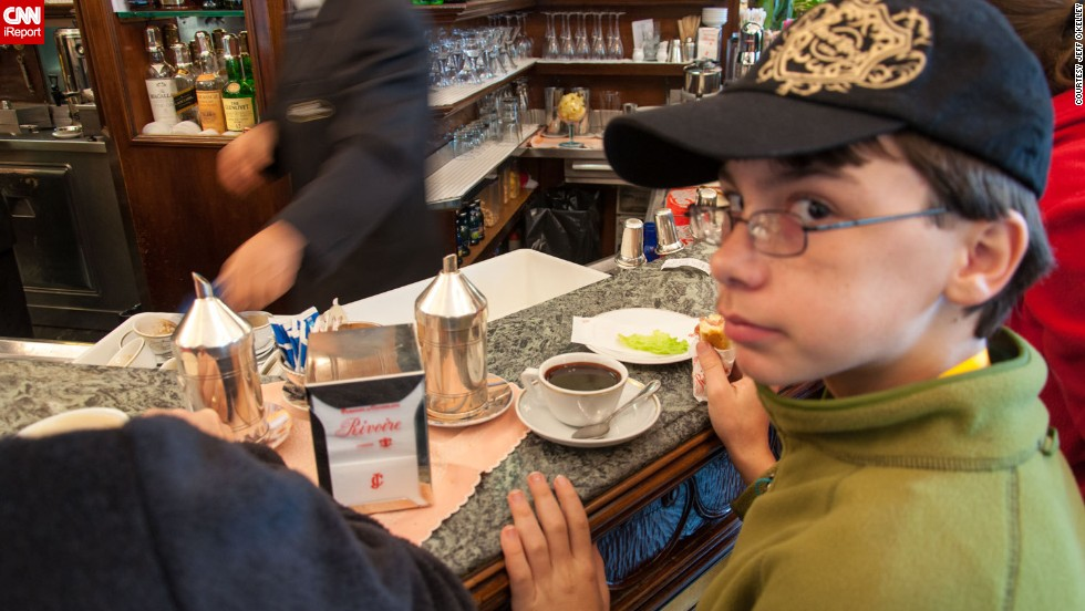 "For Thanksgiving one year, <a href=""http://ireport.cnn.com/docs/DOC-944420"">Jeff O'Kelley </a>and his son, Ian, traveled to Florence, Italy. It was there that Ian, a self-proclaimed chocolate connoisseur, tried one of his favorite cups of hot chocolate. They were at a little cafe called Rivoire, which O'Kelley said has been around since the late 1800s and is famously known for its chocolate. ""It has become somewhat of a tourist trap, but the hot chocolate is well worth braving the crowds. It's so thick and rich that it coats your spoon,"" he said."