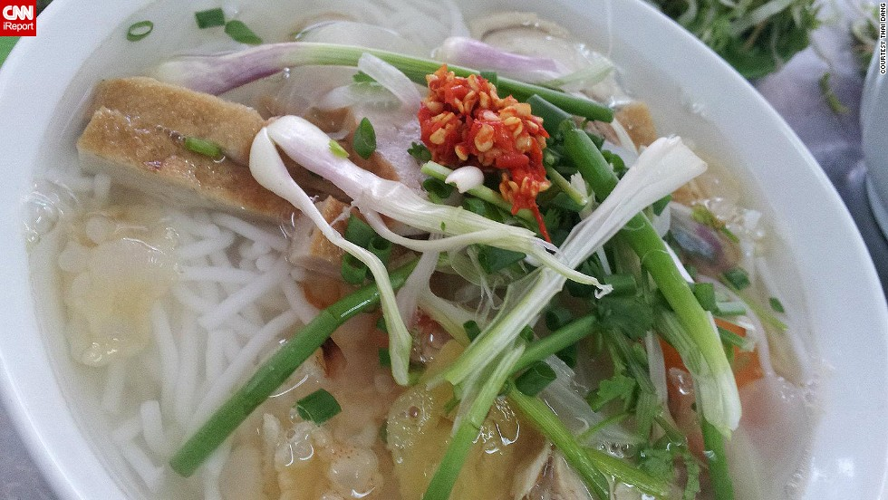 "If you are in Nha Trang, Vietnam, <a href=""http://ireport.cnn.com/docs/DOC-948940"">Thai Dang</a> suggests trying a bowl of jellyfish noodles (yes, they're actually made of jellyfish!). She says the noodles are a specialty of that area and they are not the same noodles you would find in a soup dish like pho. ""It's rounder and less chewy,"" she said."