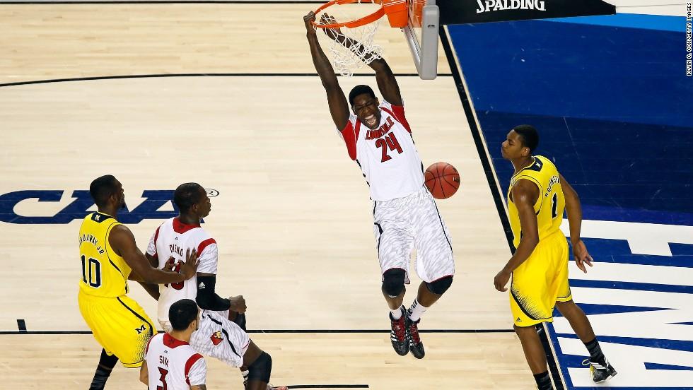 Montrezl Harrell of Louisville dunks an alley-oop pass.