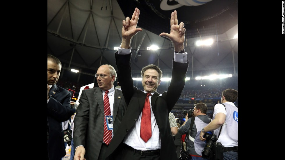 Head coach Rick Pitino of Louisville celebrates after the Cardinals win.