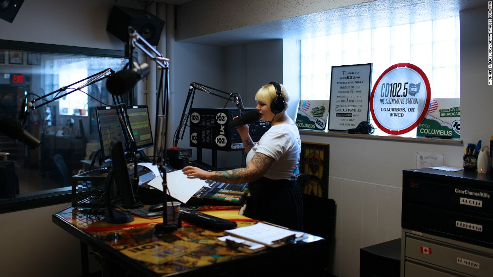 "Radio host Rachael Gordon talks on-air from the CD102.5 studios in Columbus, Ohio. <a href=""http://cd1025.com/"" target=""_blank"">WWCD-FM</a> is a rarity in today's world of radio, an independently operated and locally owned commercial music station."